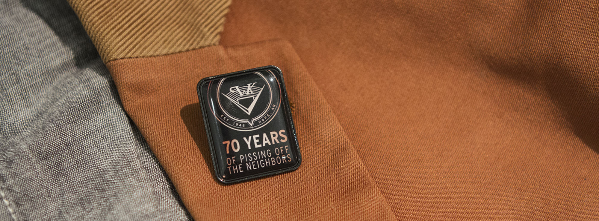Pissing off the Neighbors lapel pin