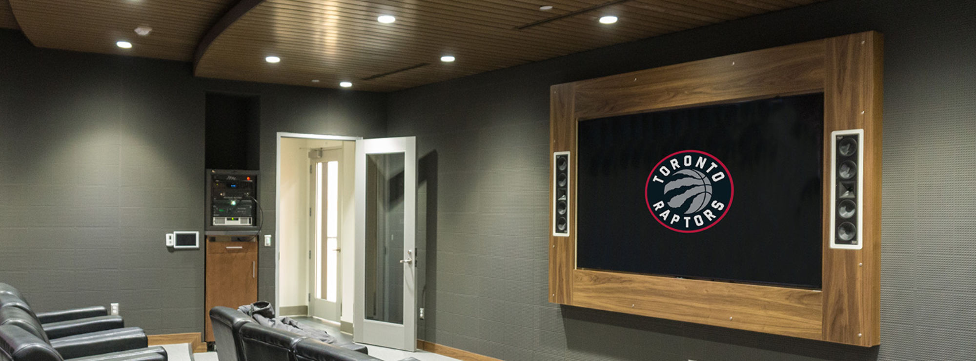 Klipsch in wall speakers at the Toronto Raptors practice facility