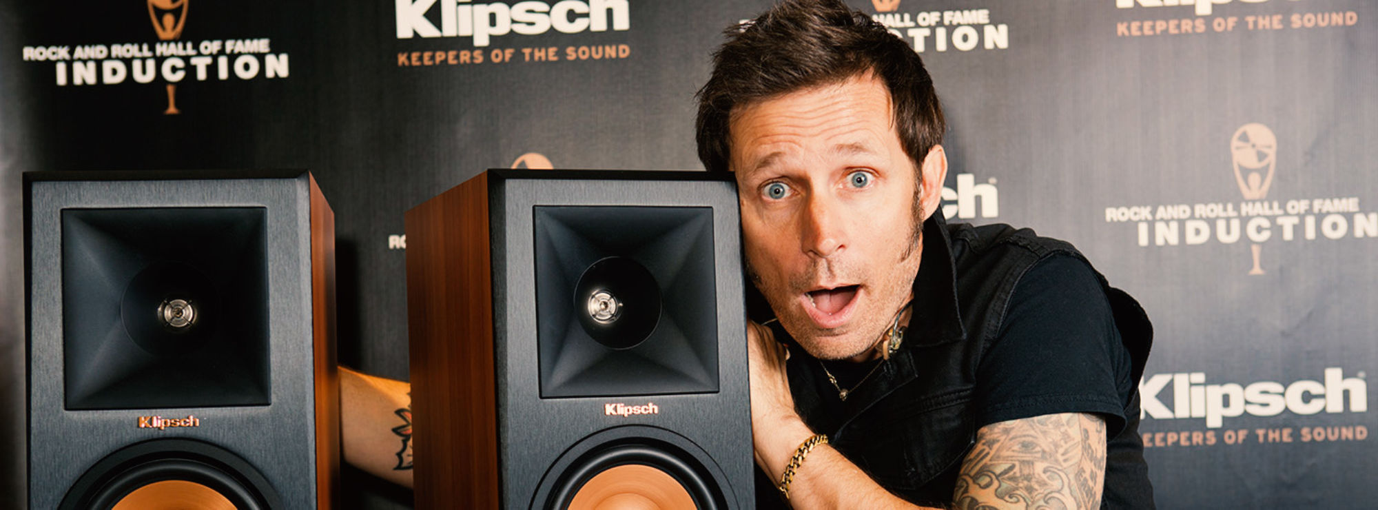 Mike Dirnt with Klipsch speakers