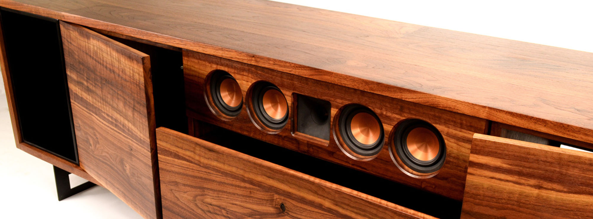 Custom built cabinet for Klipsch speakers in a home theater