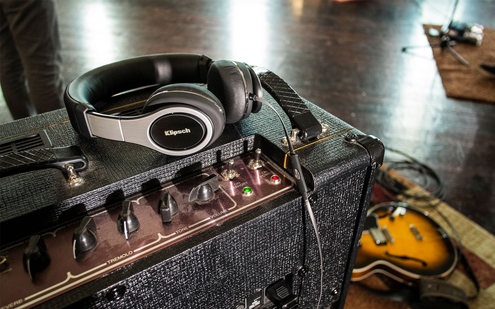 audiophile headphones and guitar speaker