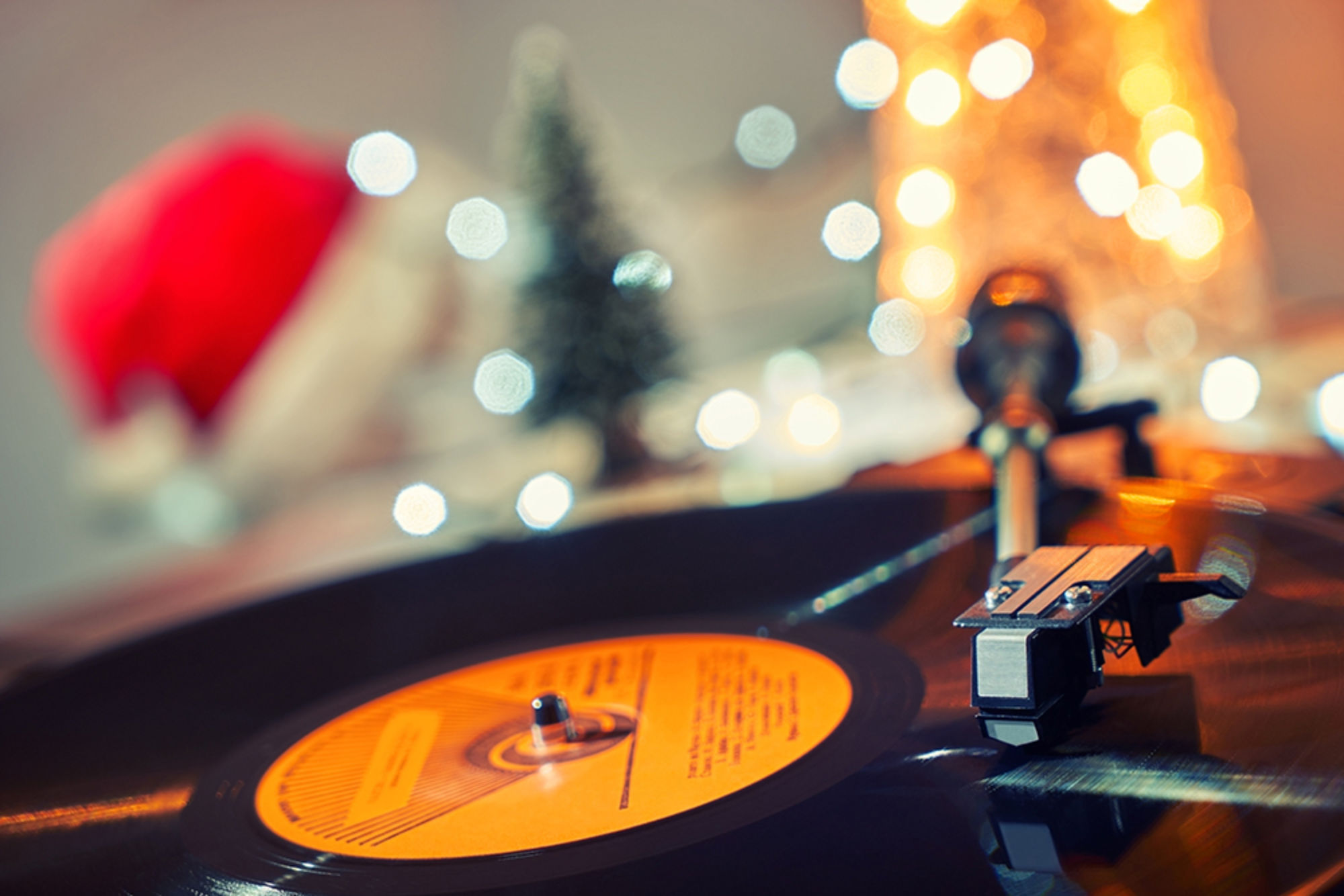 Record in front of Xmas tree