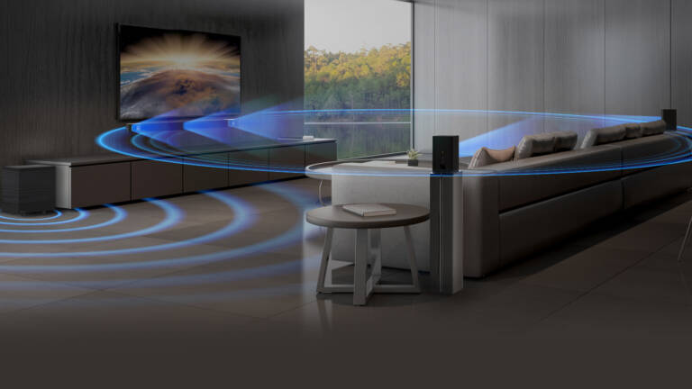 Klipsch Cinema 600 5 1 System in a living room setting with a depiction of sound waves Desktop