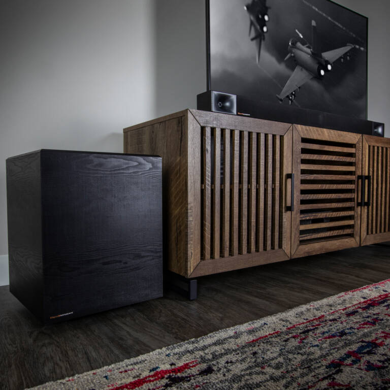 Klipsch Cinema 600 with wireless subwoofer on an entertainment center mobile