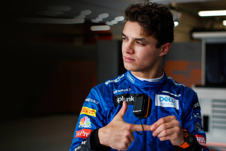 Lando Norris with Klipsch T5 II True Wireless Sport McLaren Edition Case