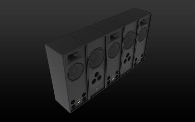 Klipsch-RCC-102-Speakers-on-Black Background
