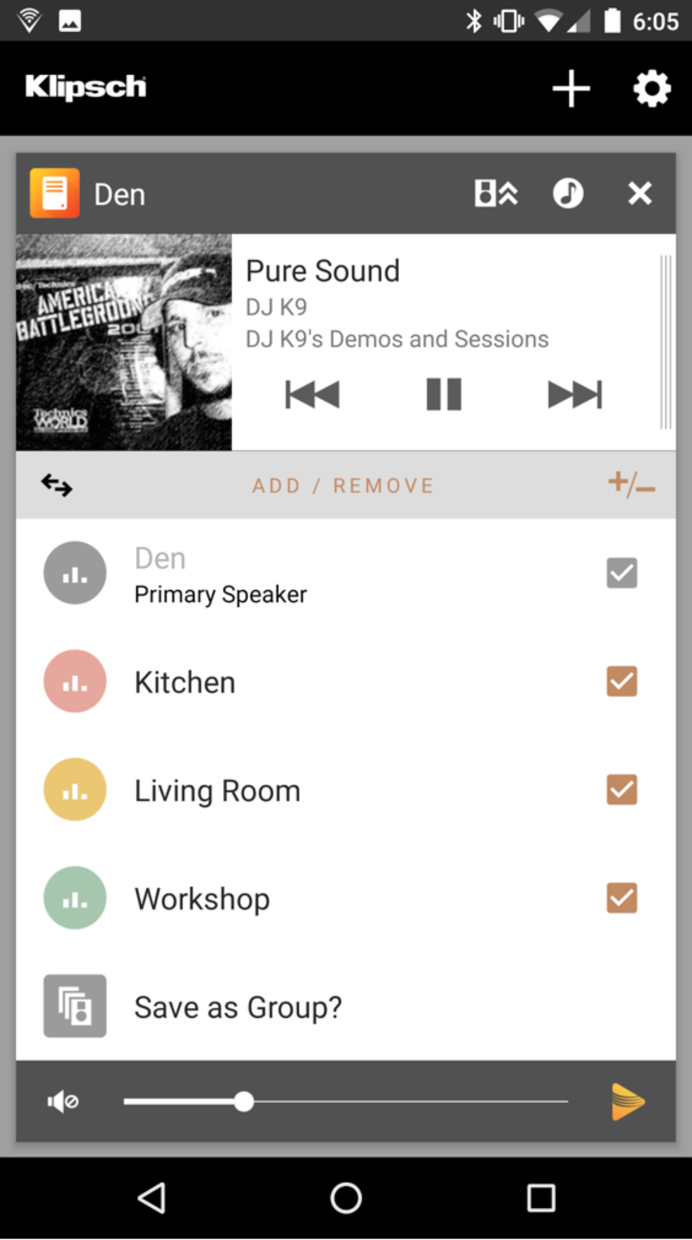 Klipsch Stream App Screenshot Add Remove Speaker
