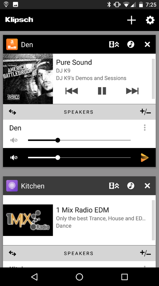 Klipsch Stream App Screenshot Zones