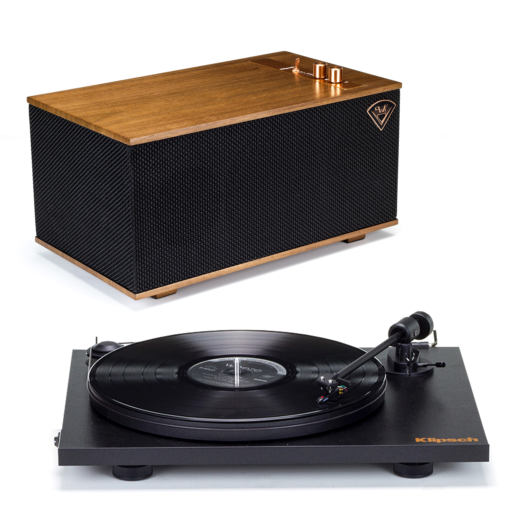 Klipsch Pro-Ject Turntable + The Three - Walnut