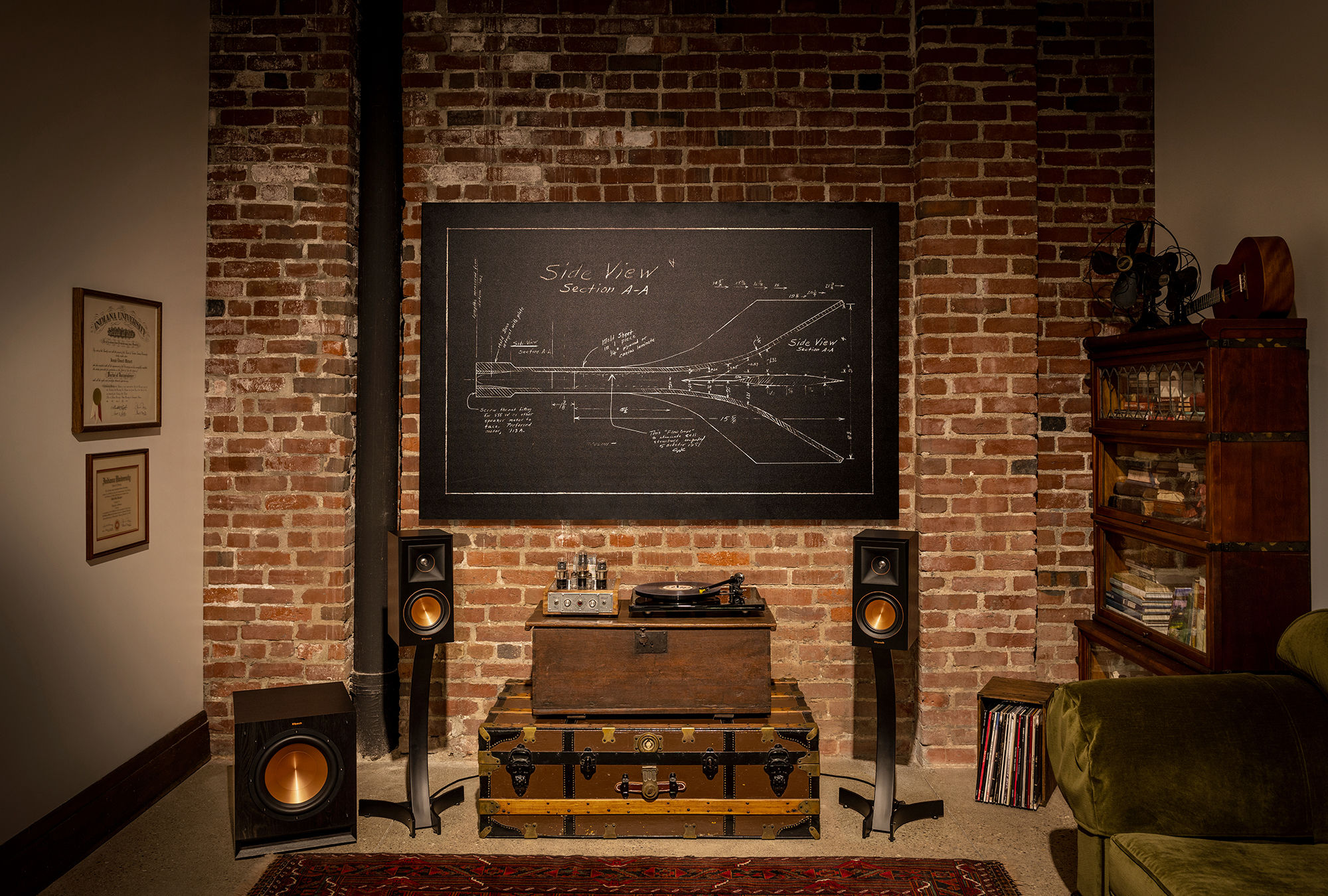Klipsch Reference Premiere speakers in a library