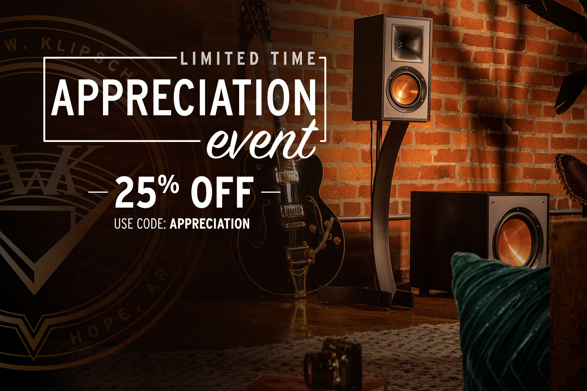 Limited Time Appreciation Event - get up to 25% off on select speakers and headphones by using code APPRECIATION at checkout.