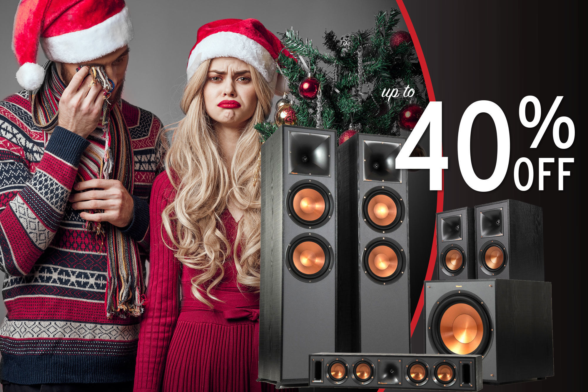 Holiday Sale Woman and man sad they did not get Klipsch as gifts for the holidays up to 40% off