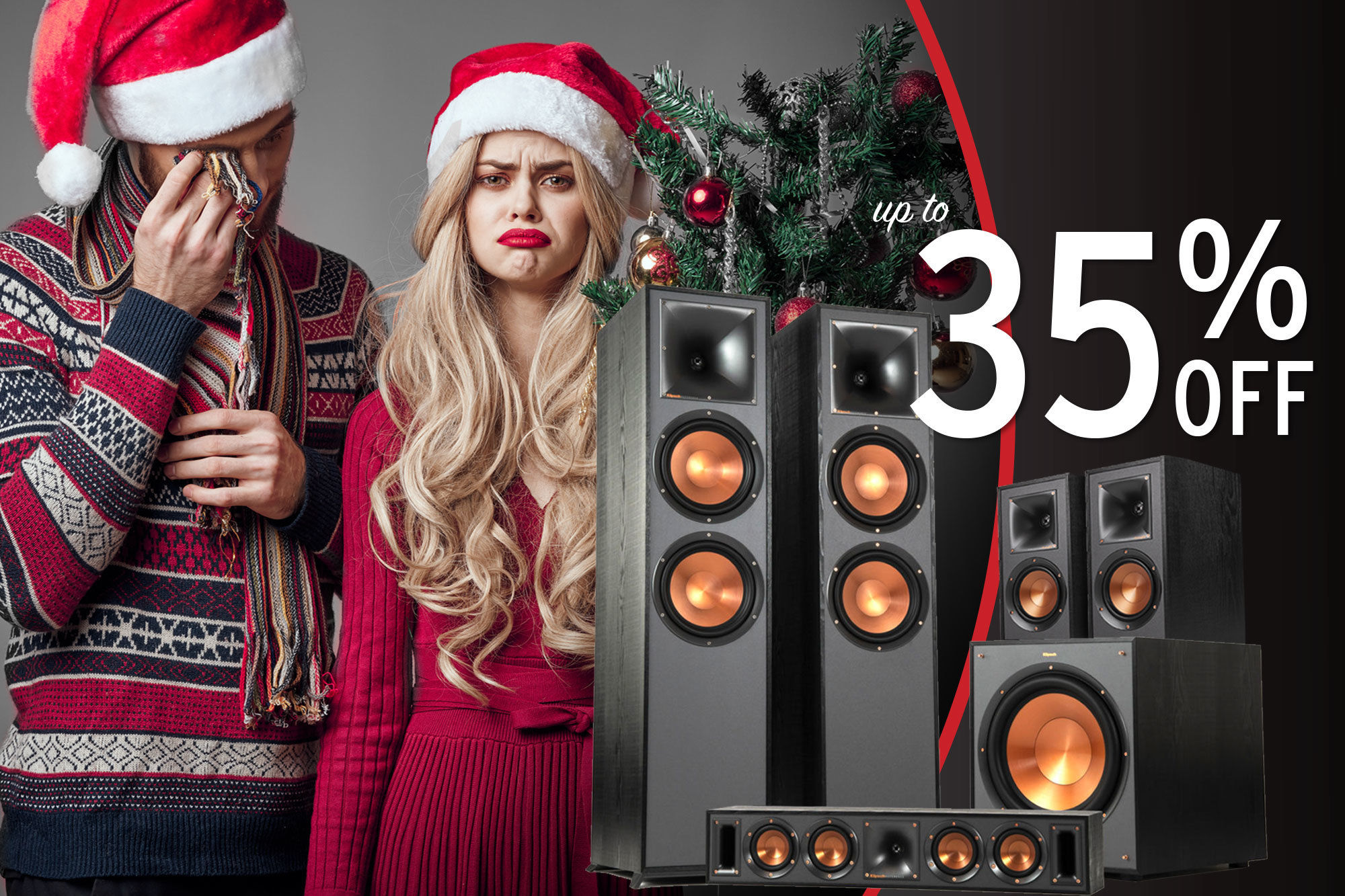 Holiday Sale Woman and man sad they did not get Klipsch as gifts for the holidays up to 35% off