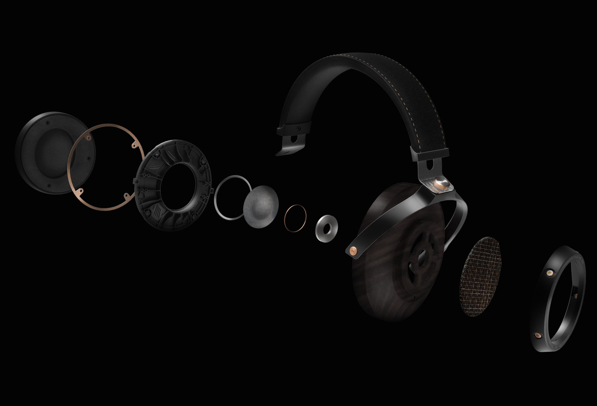 Exploded view of Klipsch HP-3 headphones showing inside details