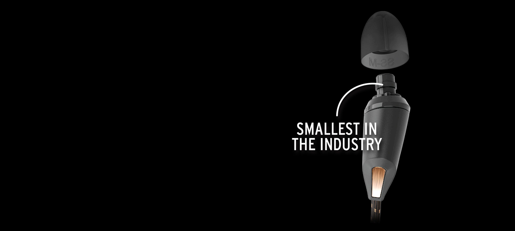 Diagram of the comfortable size of Klipsch earphones, the smallest in the industry