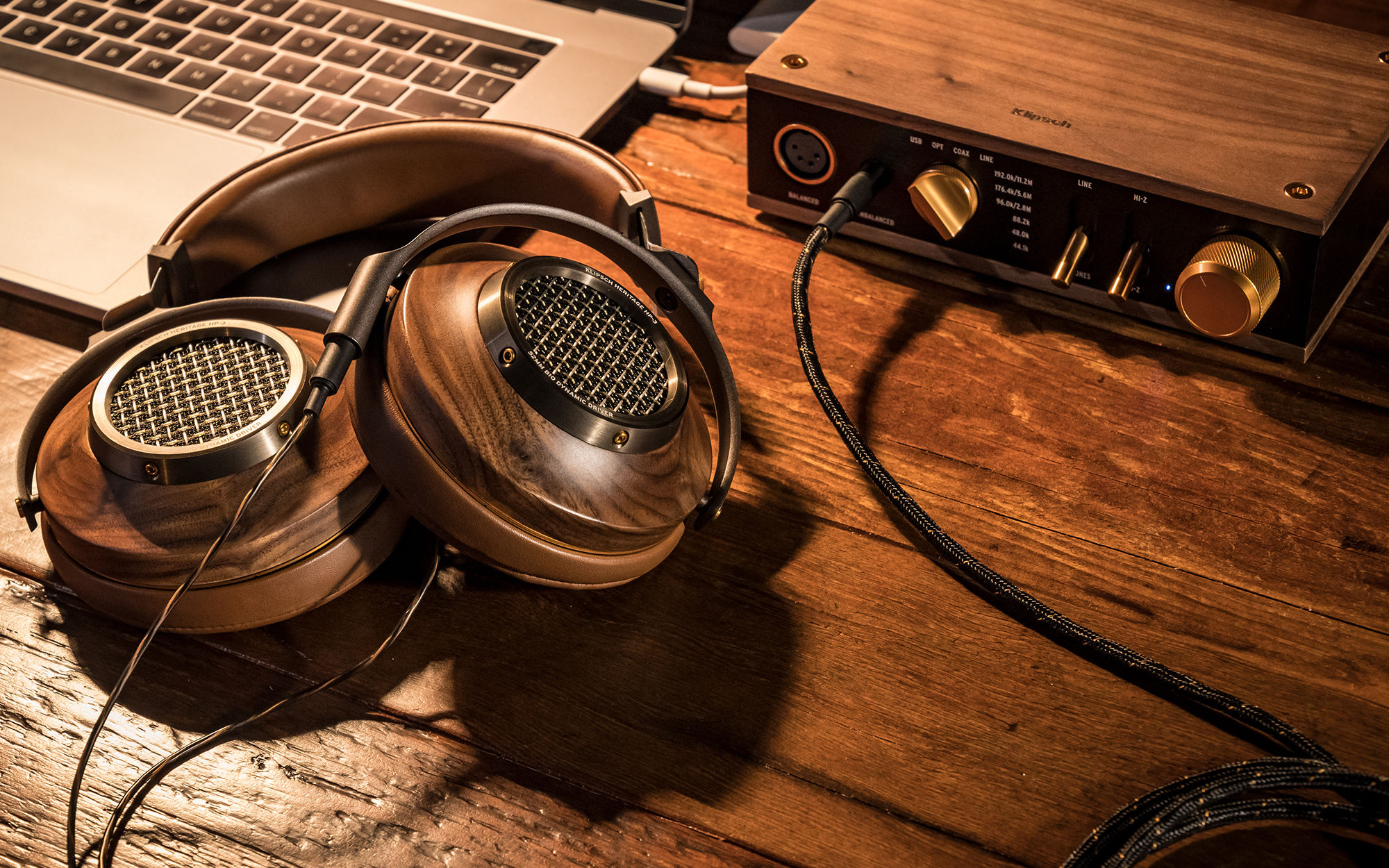 Heritage HP-3 Headphones with Heritage Headphone Amplifier and laptop