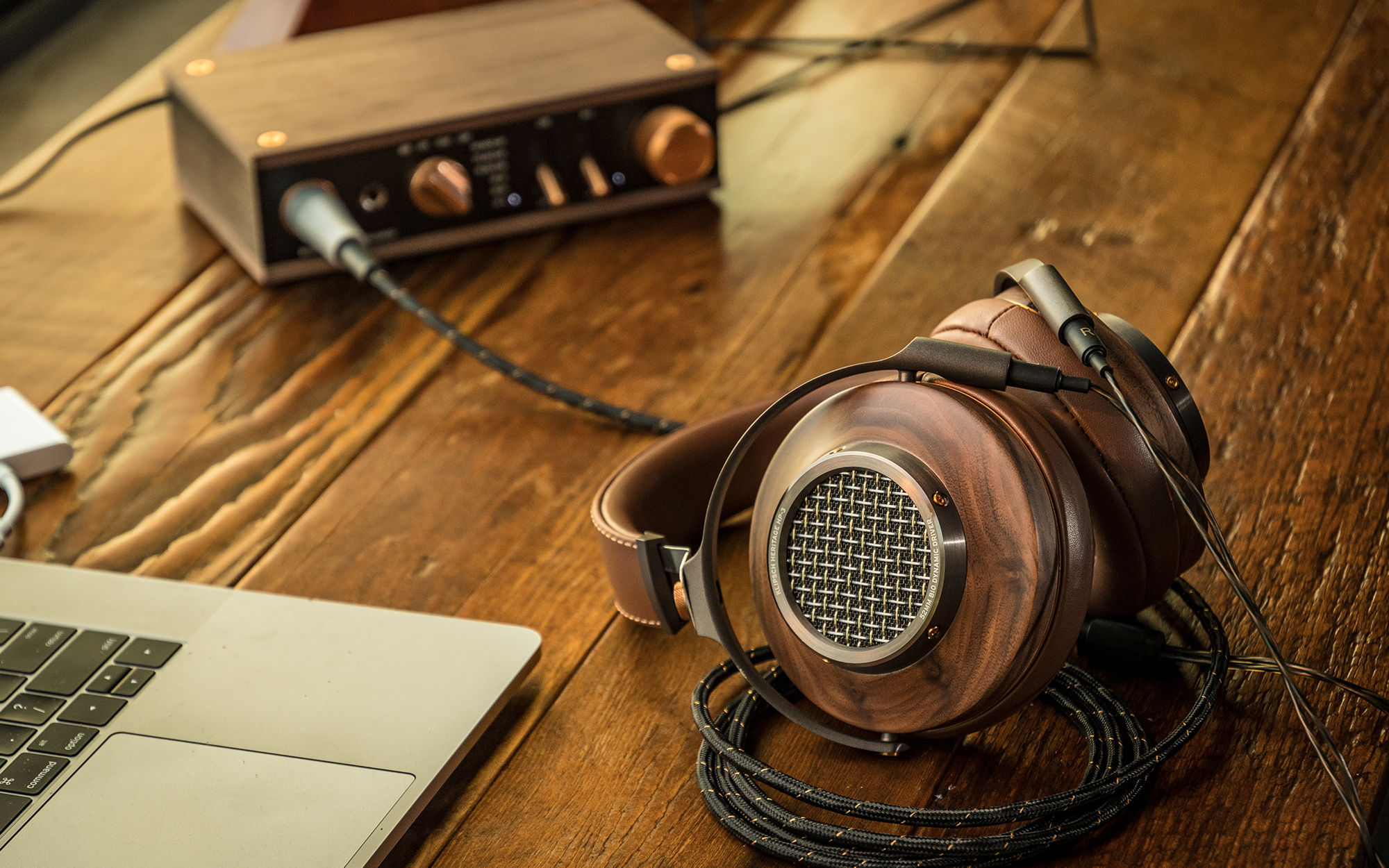 Heritage HP-3 Headphones on a wooden table