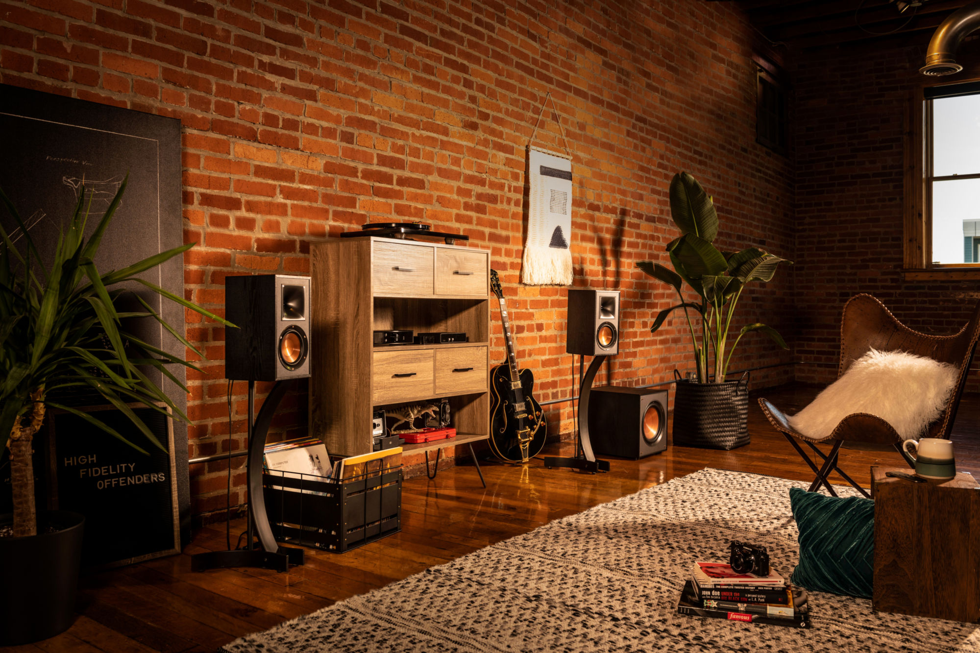 Klipsch Home Audio Set Up in a living room