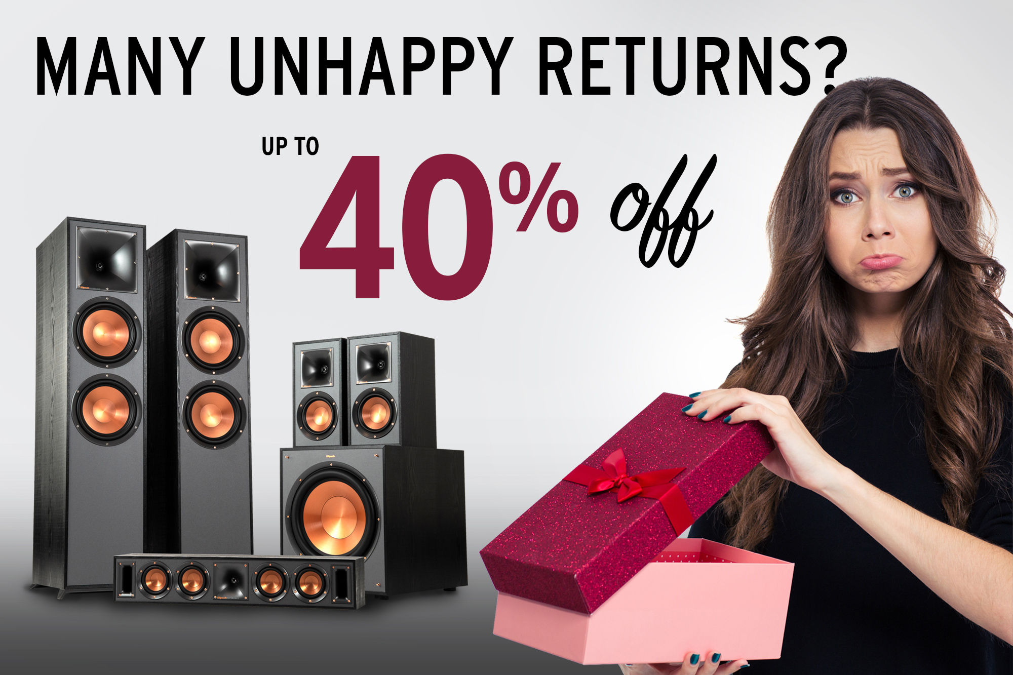 Klipsch Promo Post Holiday sad woman