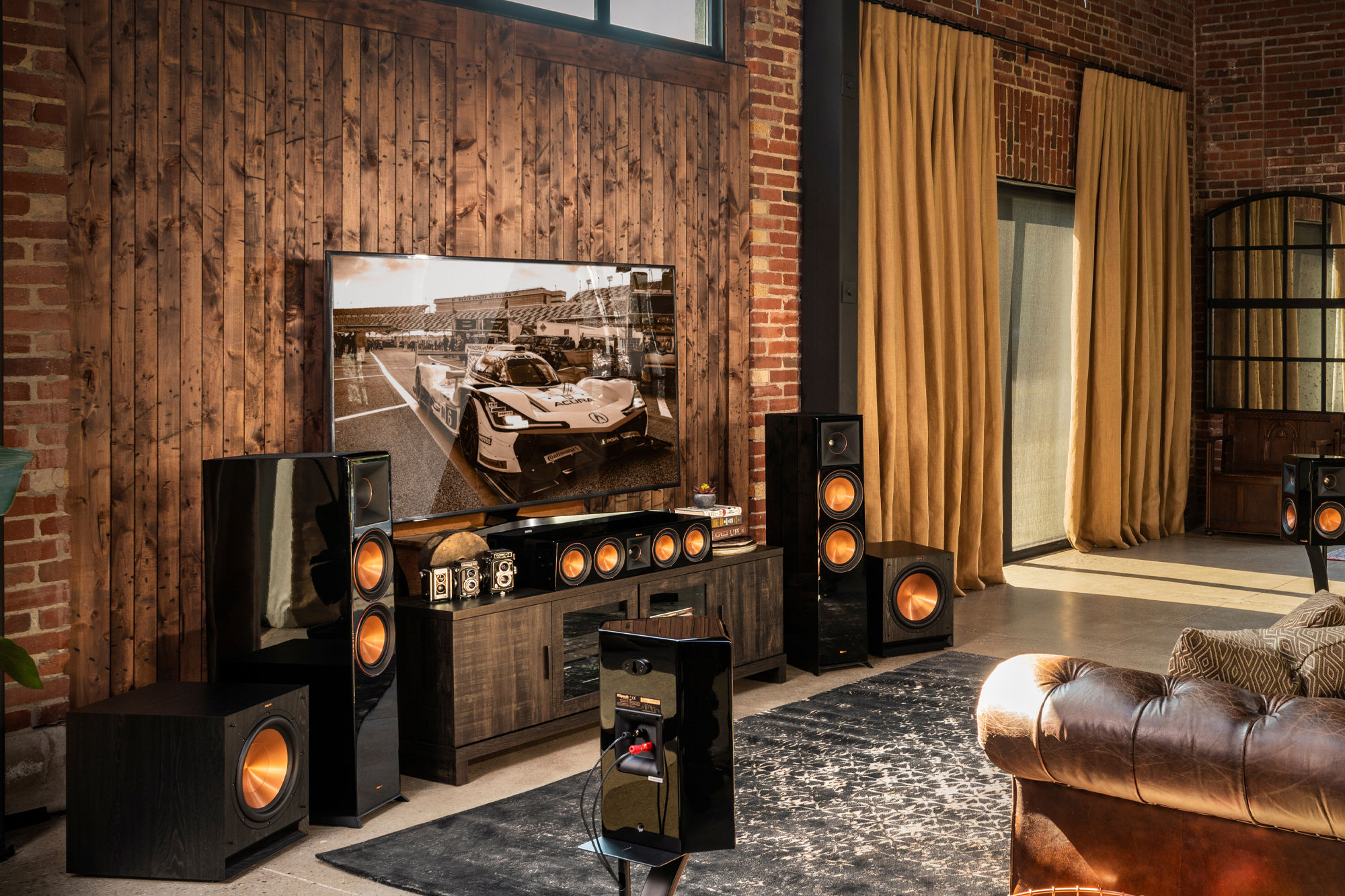 Surround sound system in a living room