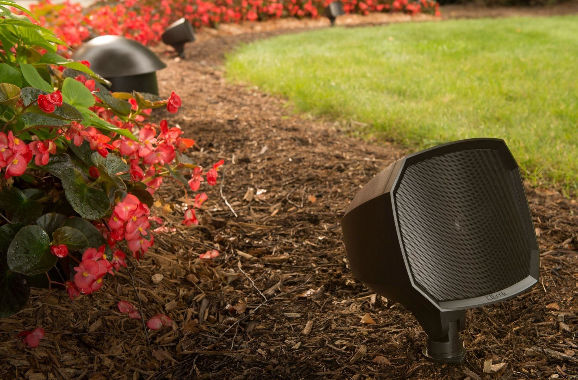 Klipsch Landscape Speakers in a garden