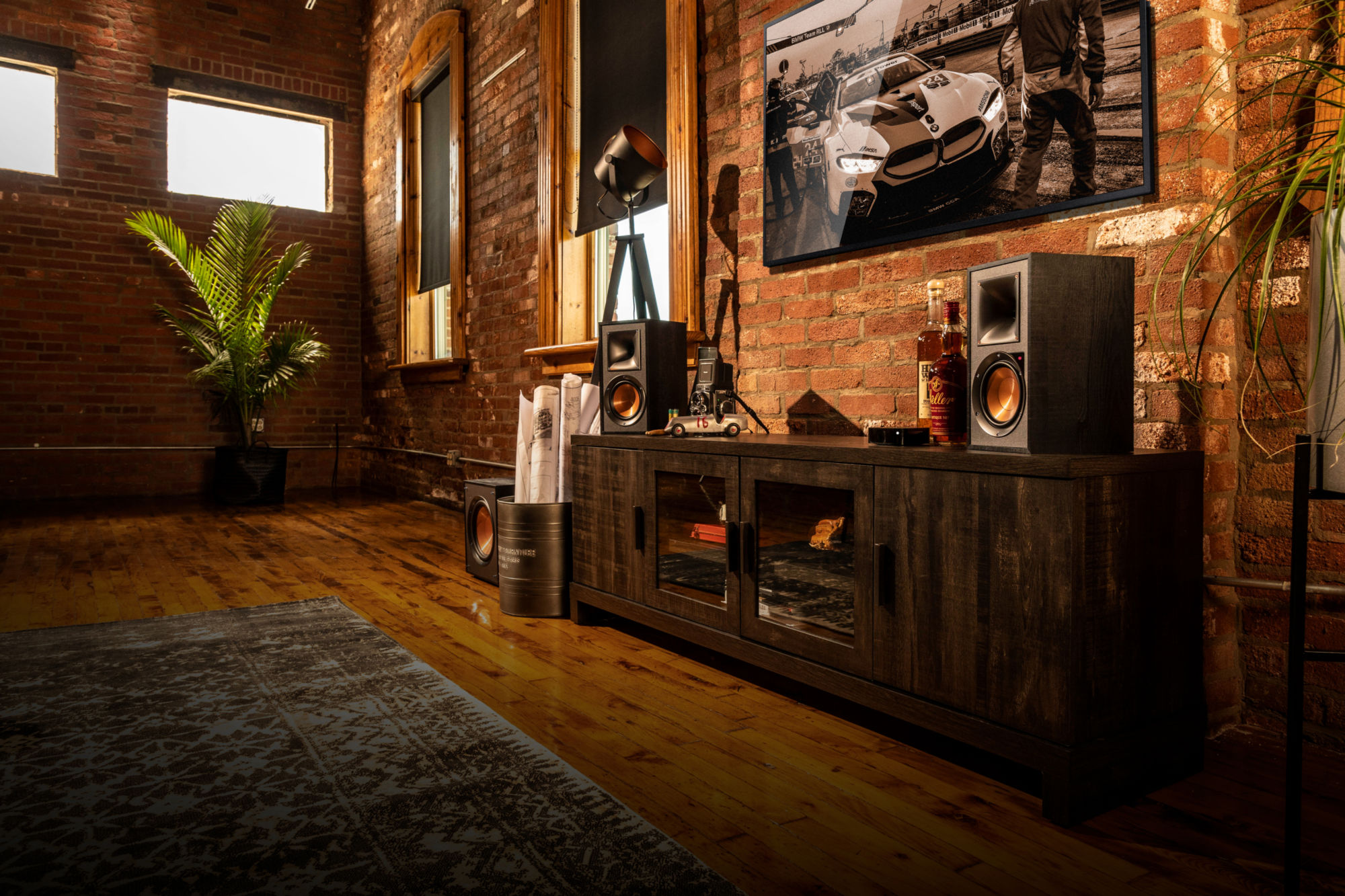 Klipsch Reference Powered Speakers on a wooden cabinet