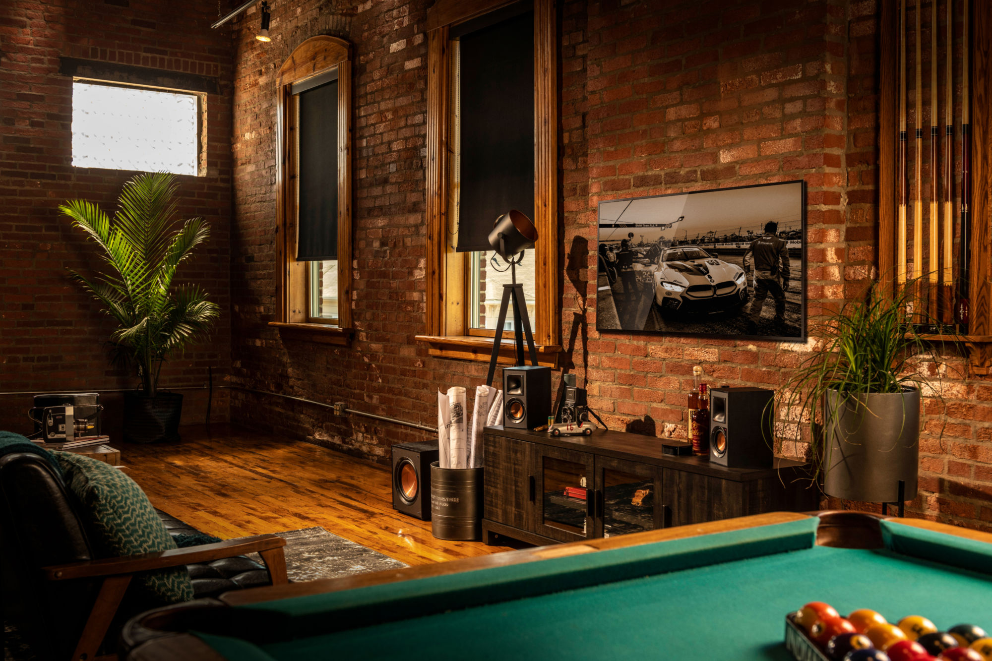 Klipsch Reference Powered Speakers in a living room with a pool table