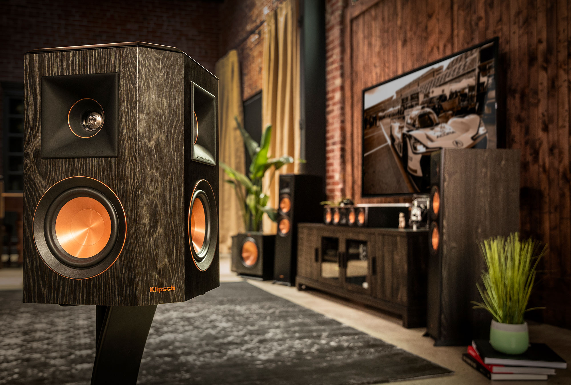 Klipsch RP-502S surround sound speaker as part of a full system
