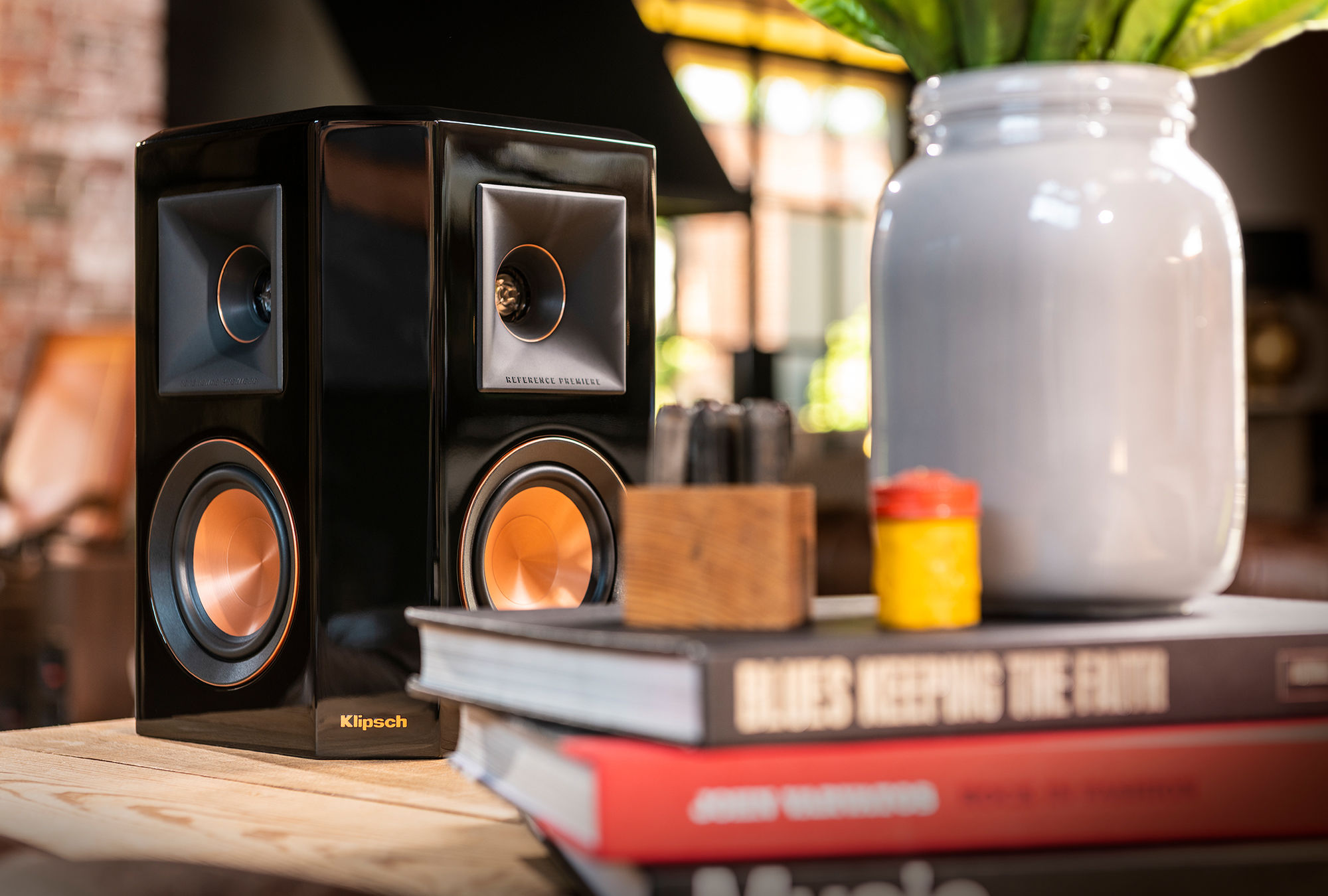 RP-502S surround sound speaker on a wooden tabletop
