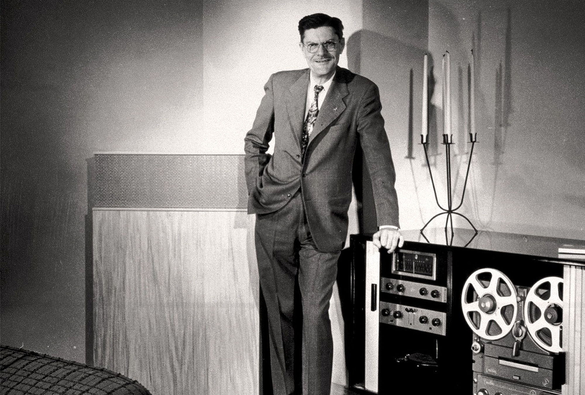 Paul W. Klipsch posing with an early version of the Klischorn