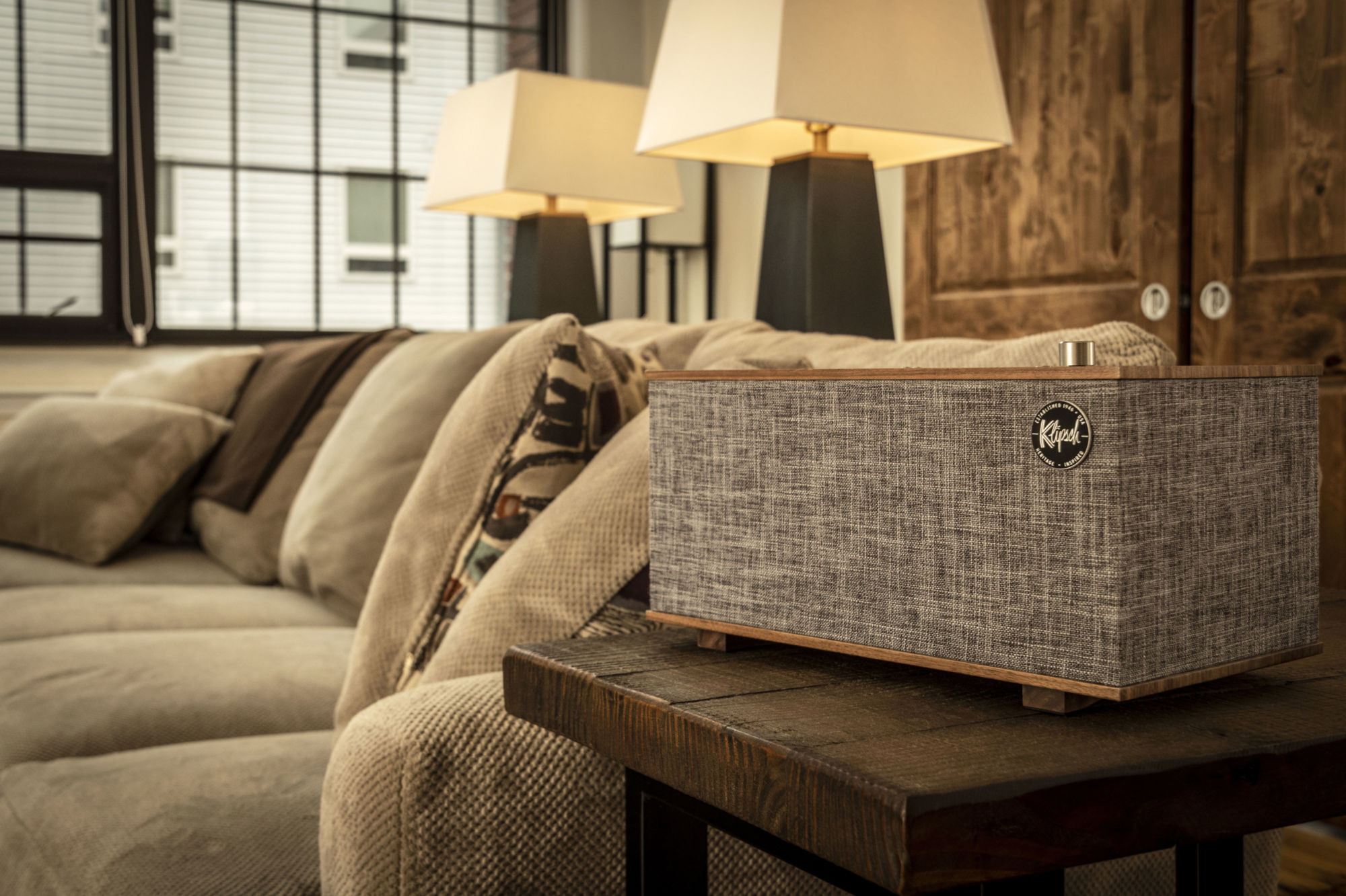 Klipsch The Three Google Assistant in a living room