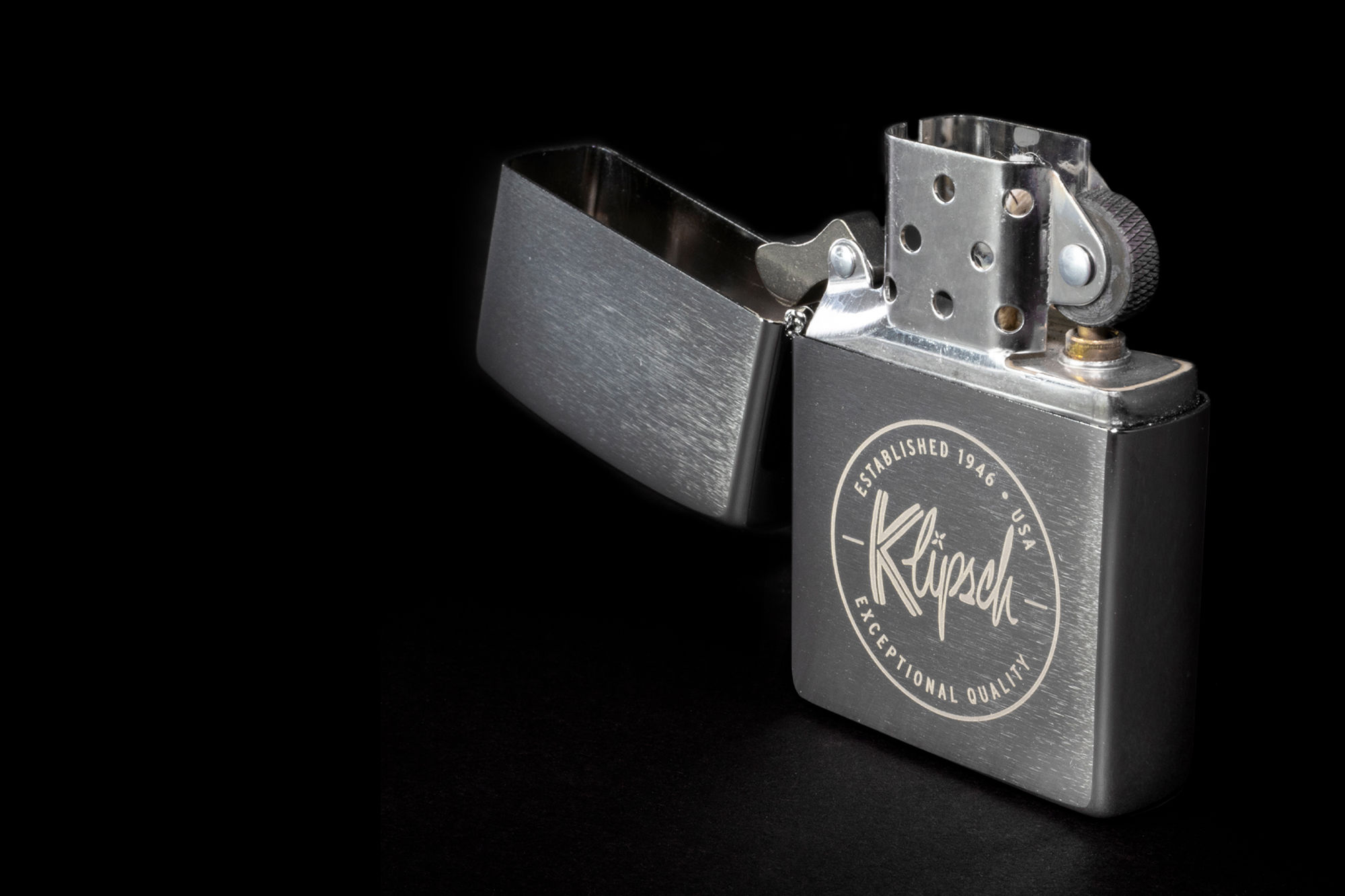 Opened Klipsch branded lighter
