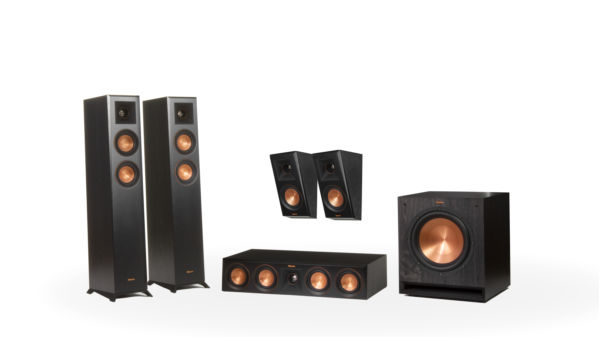 A Klipsch Reference Premiere Dolby Atmos Home Theater System in a 5.1 speaker configuration