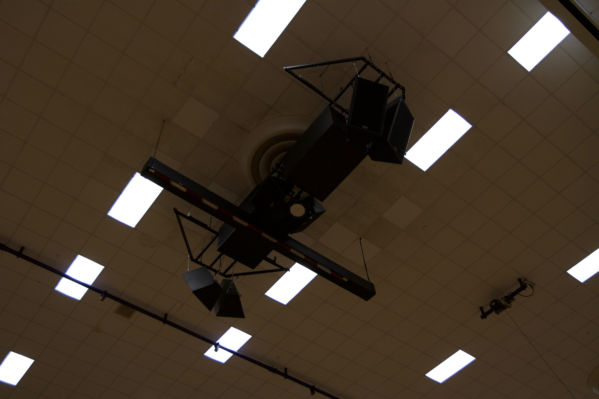 Speakers hanging from ceiling at Ben Davis