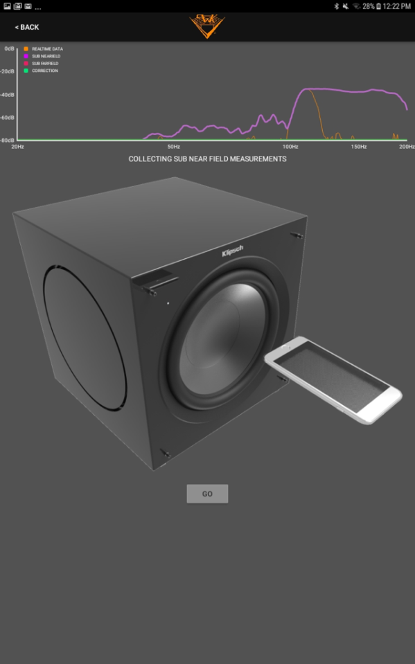 Screenshot of Klipsch app collecting Subwoofer near field measurments