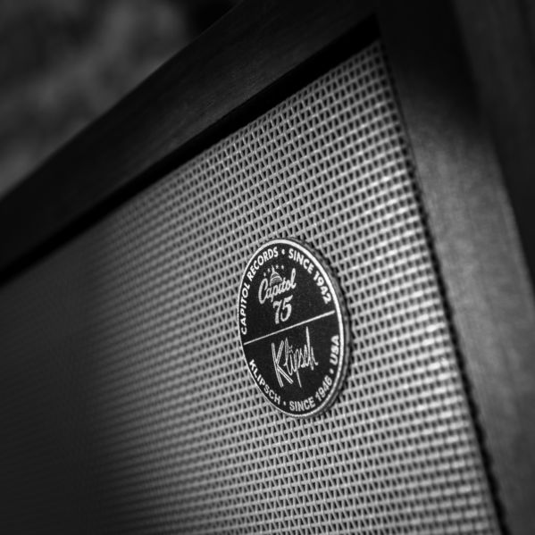 Klipsch speaker with the Klipsch/Capitol Records logo
