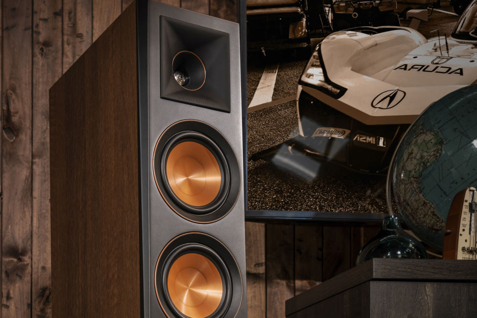Klipsch Floorstanding Speaker next to television
