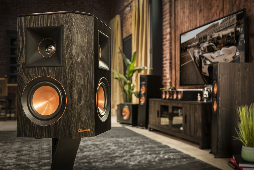 Klipsch Home Theater Surround Sound Speaker in living room