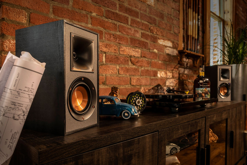 Klipsch Powered Speakers on a shelf